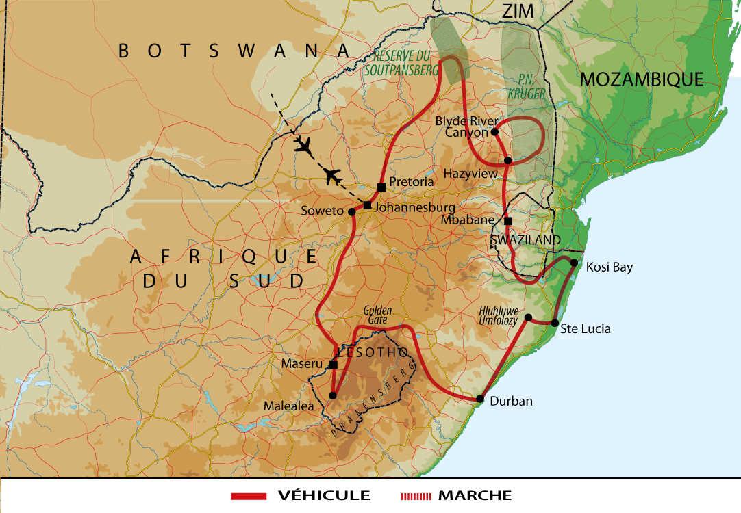 Carte Afrique du Sud et Lesotho