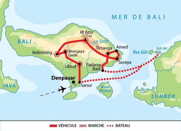 Carte circuit aventures et rencontres balinaises, relax à Gili Air
