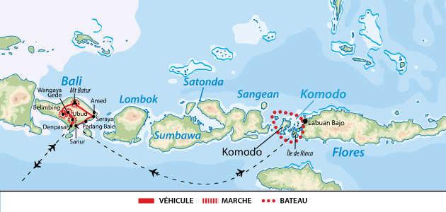Carte circuit Bali et Komodo en famille