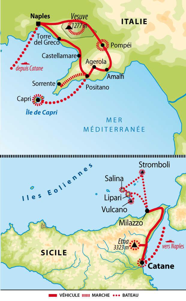 Carte circuit combiné Sicile et côte amalfitaine