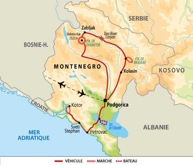 Carte circuit découverte nature du Monténégro