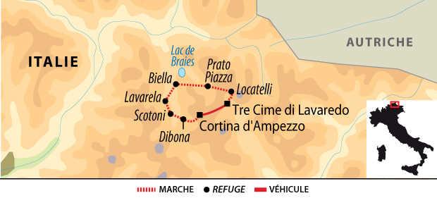 Carte circuit des Dolomite en itinérance