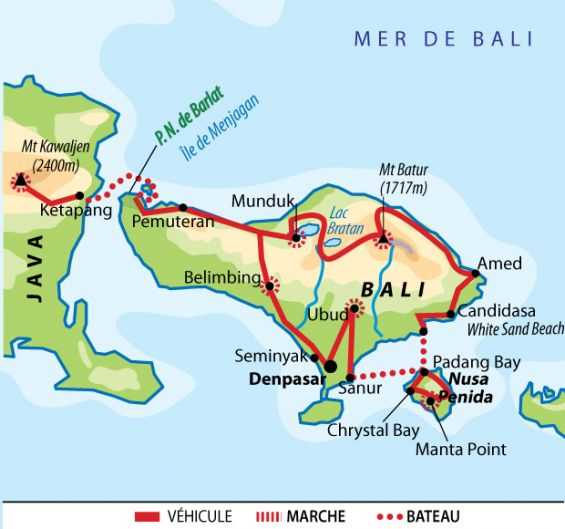 Carte Circuit famille en Indonésie