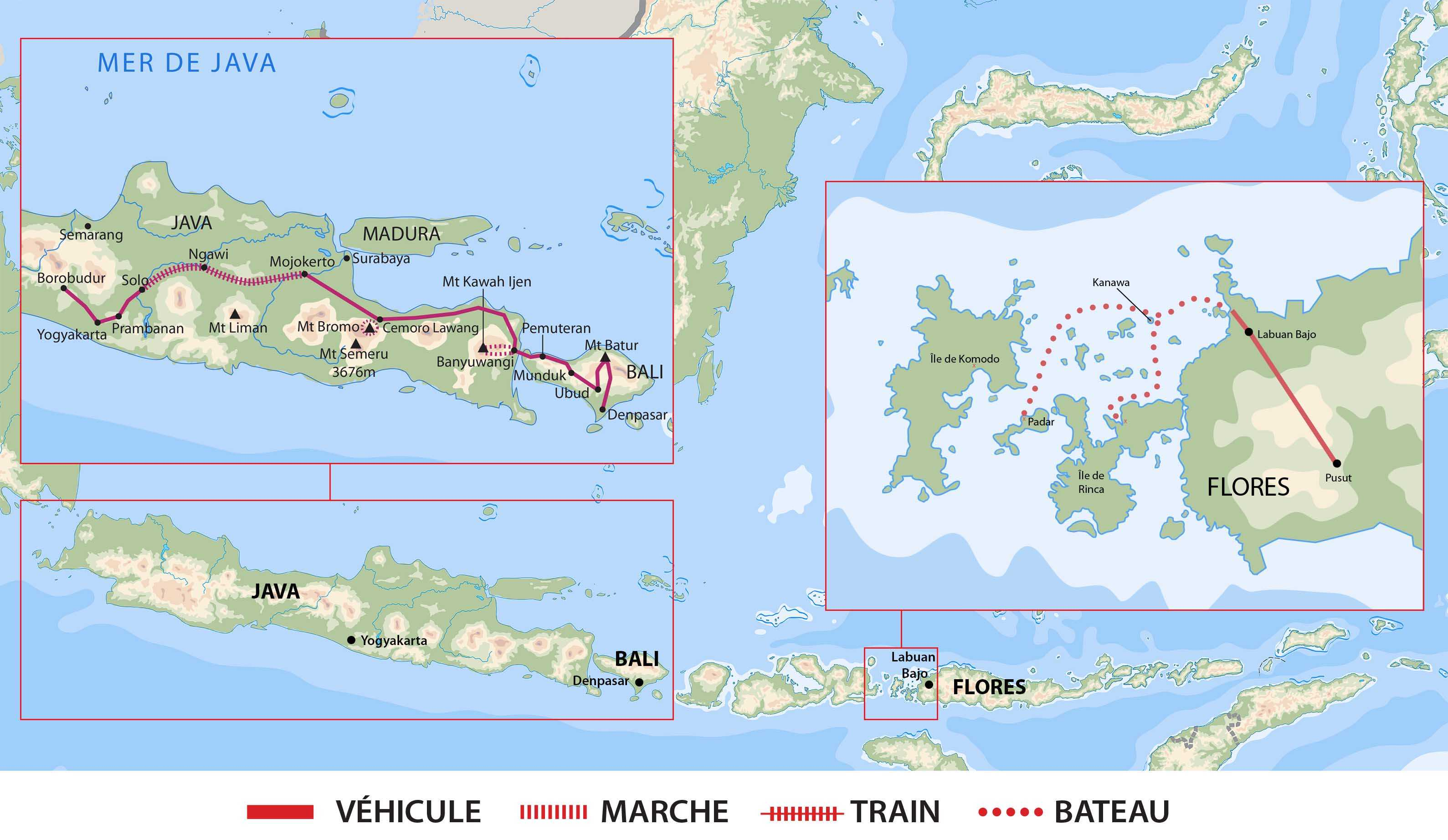 Carte circuit Java Bali  Flores- AIJABFLO