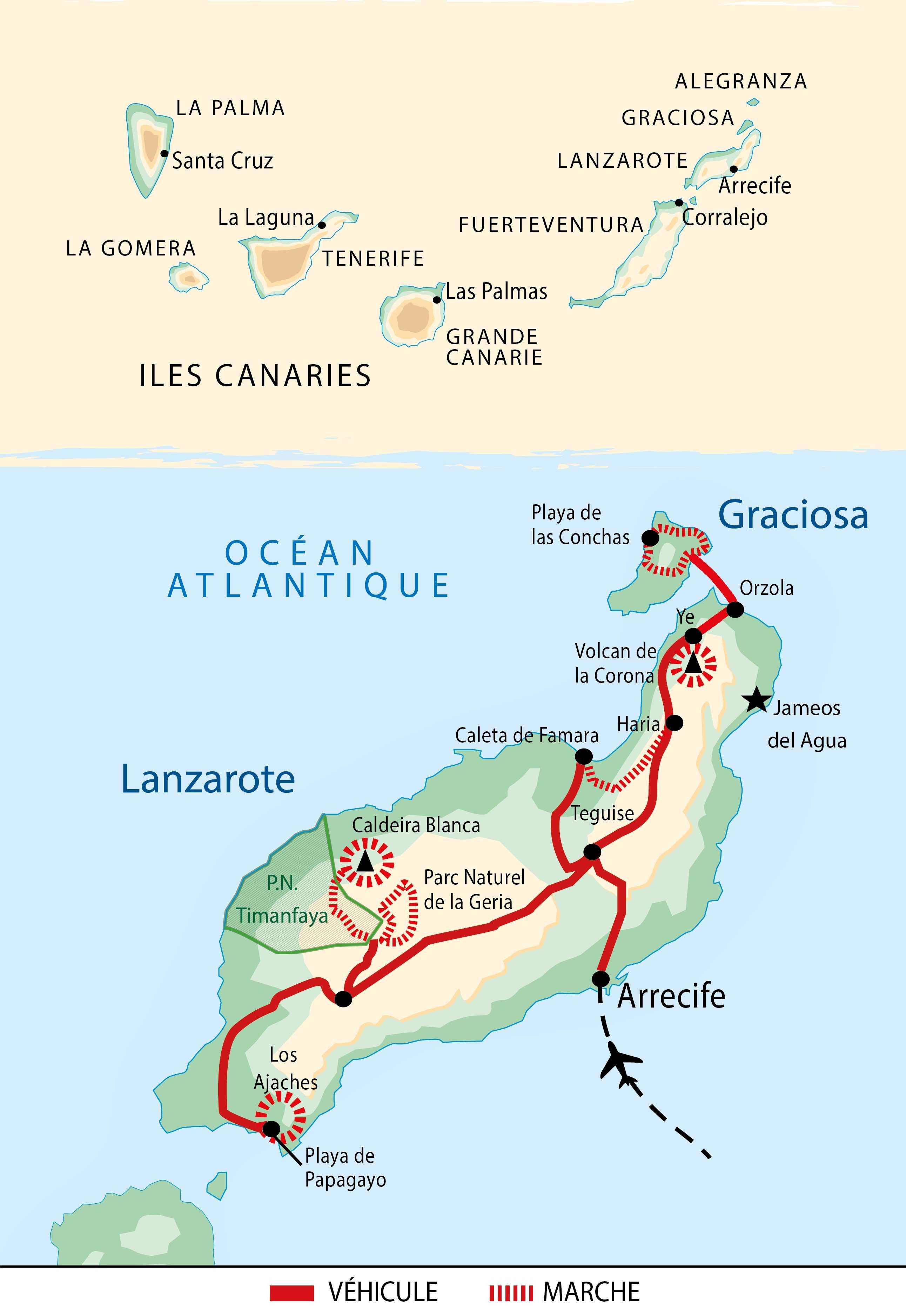 Carte du circuit Rando Liberté à Lanzarote