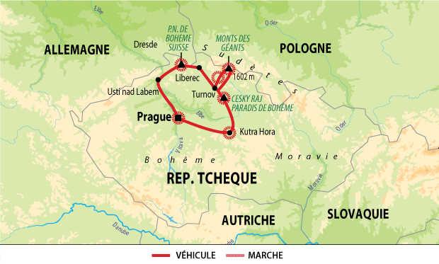 Carte circuit raquettes en République Tchèque
