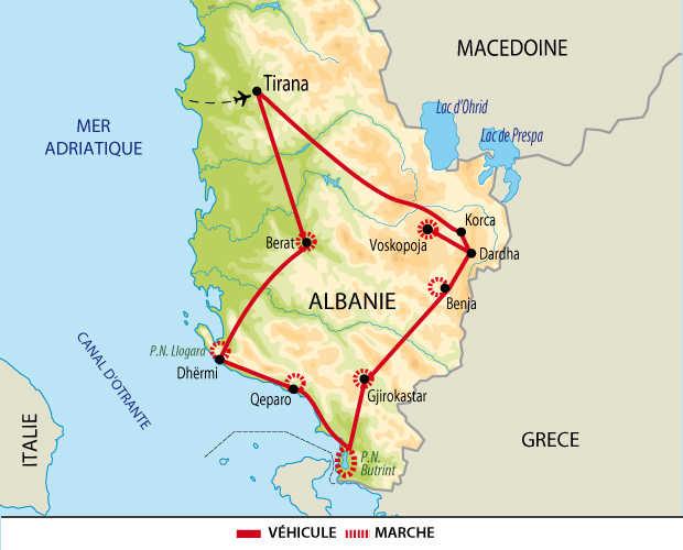 Carte circuit sud albanais
