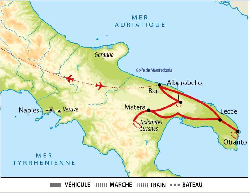 Carte circuit sud des Pouilles