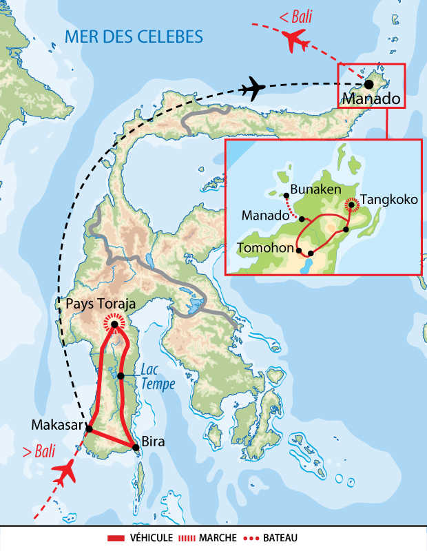 Carte circuit Sulawesi, du Sud au Nord