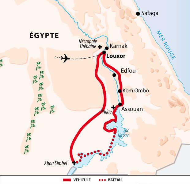 Carte circuit sur le lac Nasser