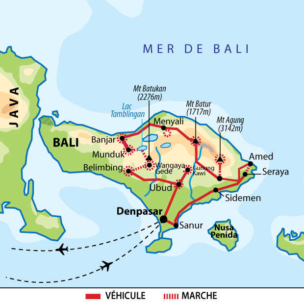 Carte circuit trek au coeur de Bali