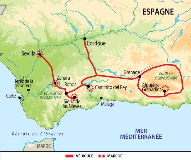 Carte circuit voyage Espagne Andalousie Liberte