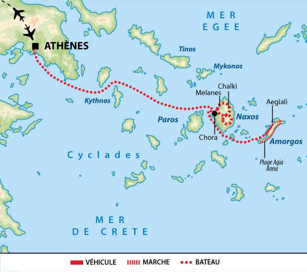 carte cyclades grece