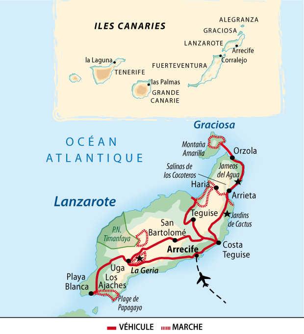 Carte de circuit à Lanzarote aux Canaries