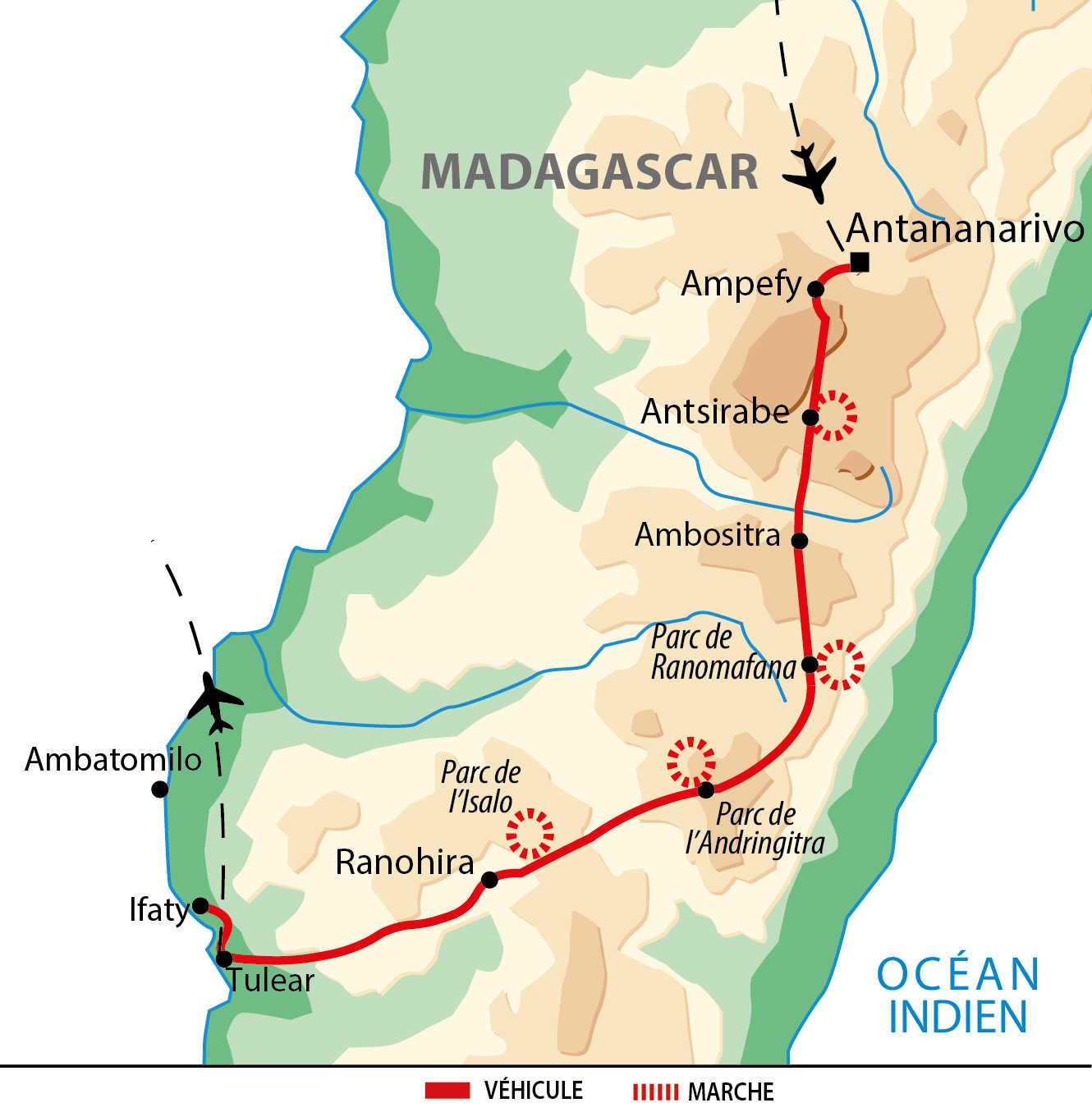 Carte de circuit dans le sud de Madagascar