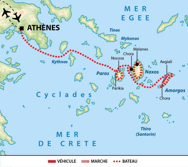 Carte de  circuit dans les Cyclades en Grèce
