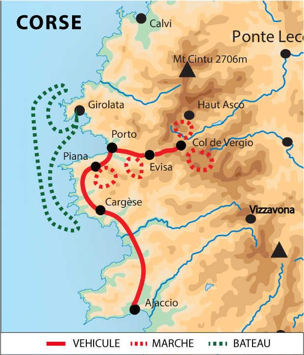 Carte de circuit du Golfe de Porto au golfe de Girolata