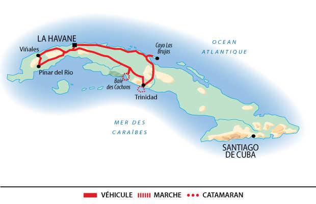 Carte de circuit en famille à Cuba