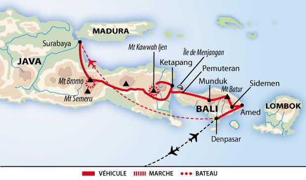 Carte de circuit Java et Bali, la ronde des volcans