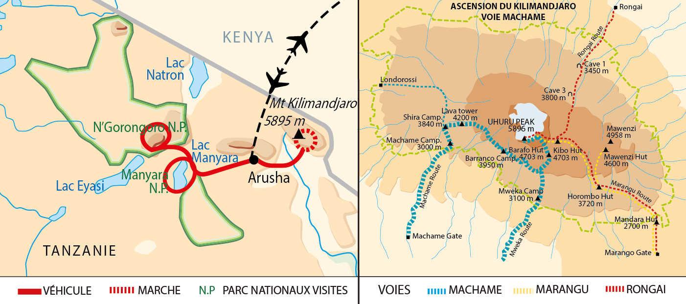 Carte de  circuit Kili et safaris