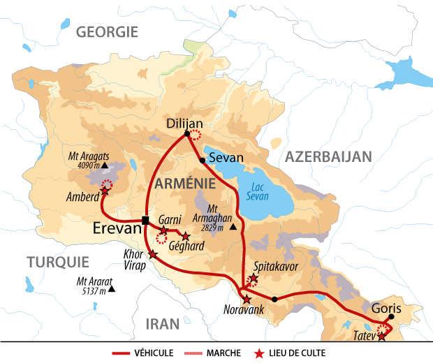 Carte de découverte ludique de l'Arménie du nord au sud
