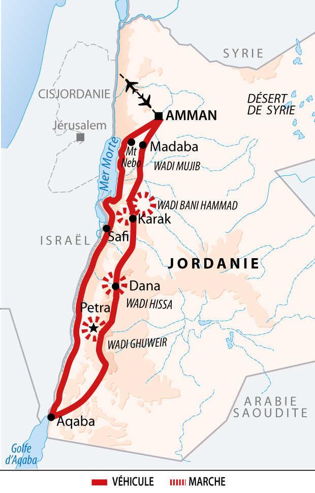 Carte de Jordanie : Canyons et baignades