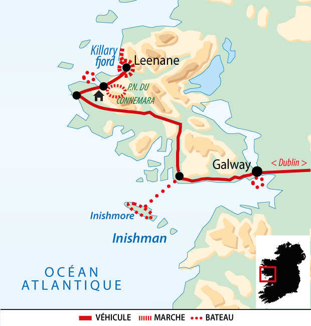 Carte de la découverte active de l'Irlande