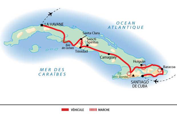 Carte de la découverte de Cuba