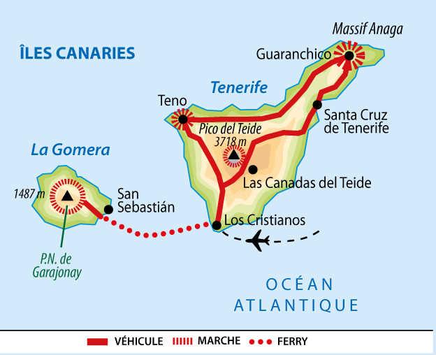 Carte de la Gomera et de Tenerife aux Canaries