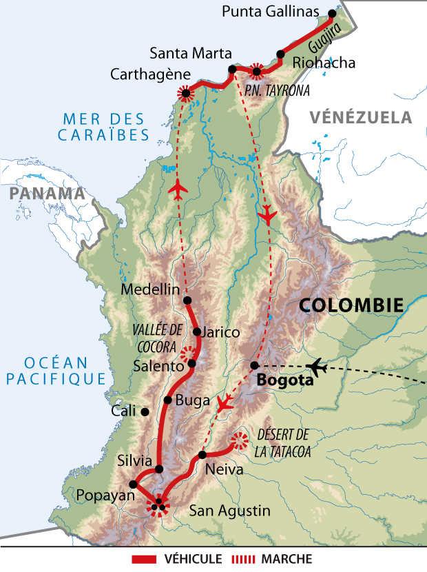 Carte de la grande découverte de la Colombie