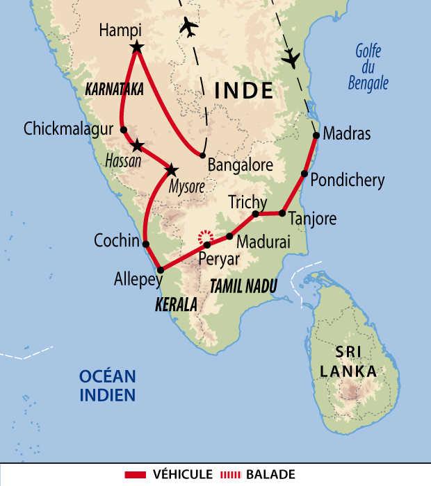 Carte de la grande découverte de l'Inde du Sud