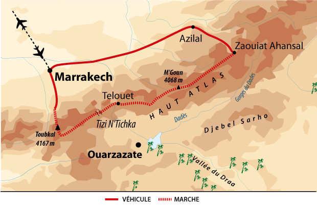 Carte de la Grande traversée de l'Atlas, Maroc