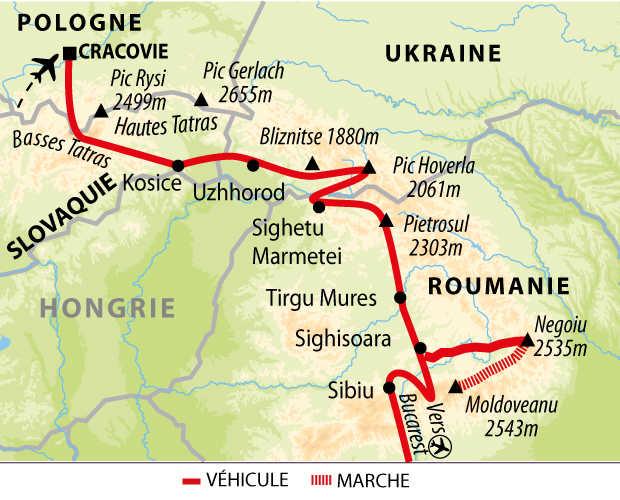 Carte de la grande traversée des Carpates