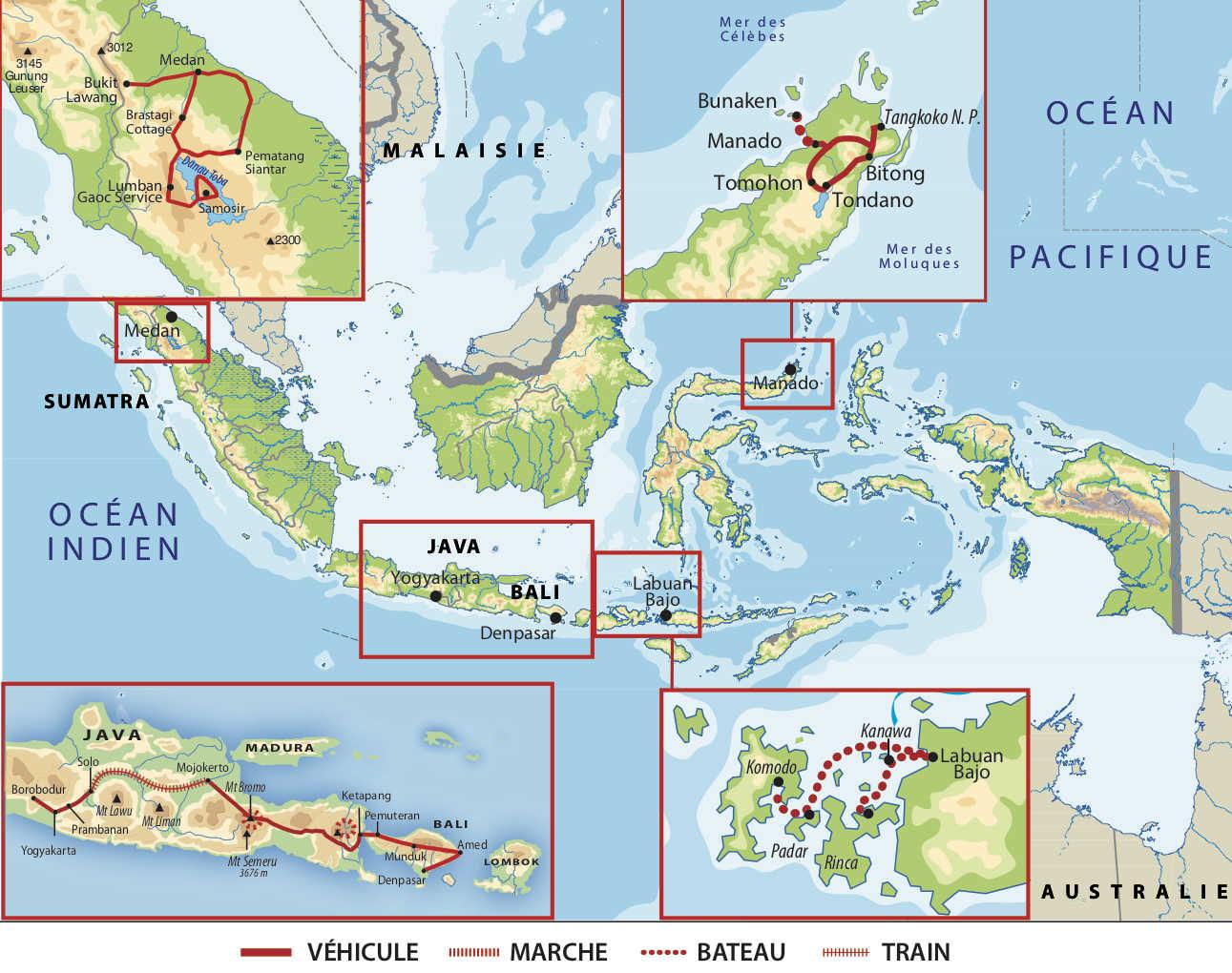 Carte de la grande traversée d'Indonésie