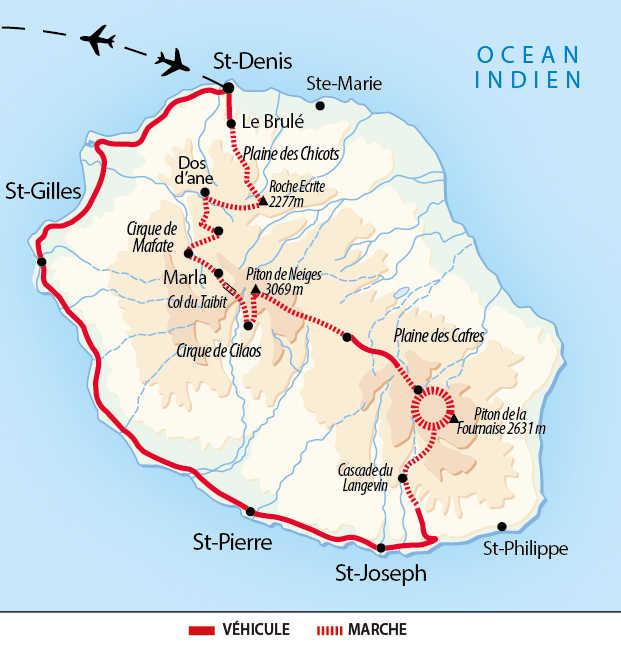 Carte de la Grande traversée réunionnaise
