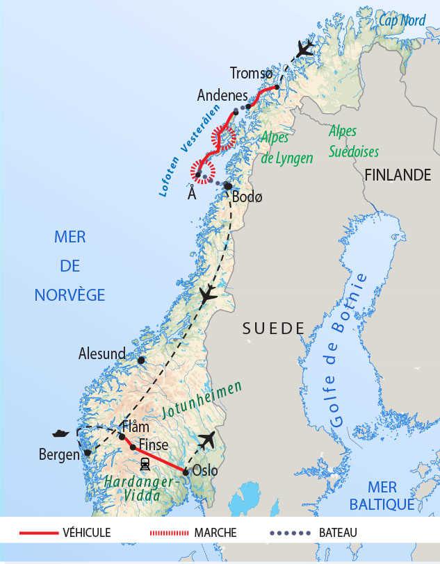 Carte de la Norvège du Nord au Sud