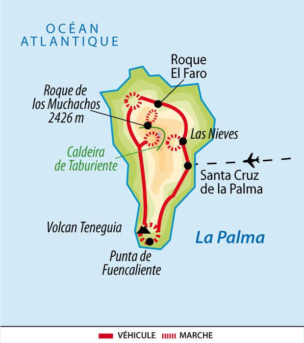 Carte de la Palma aux Canaries