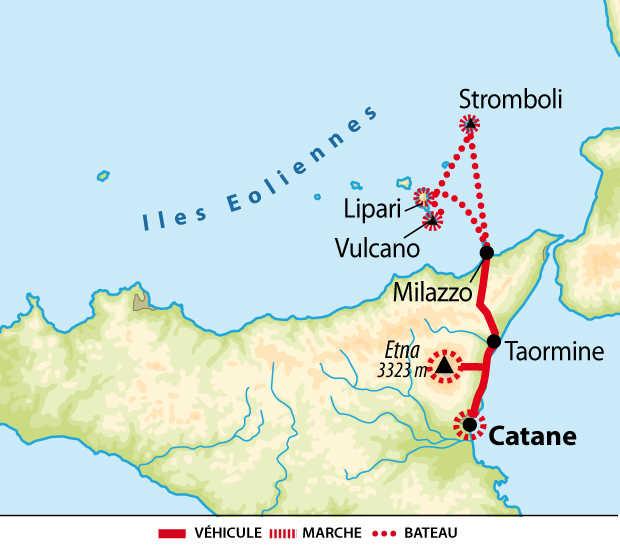 Carte de la Sicile et des Iles éoliennes