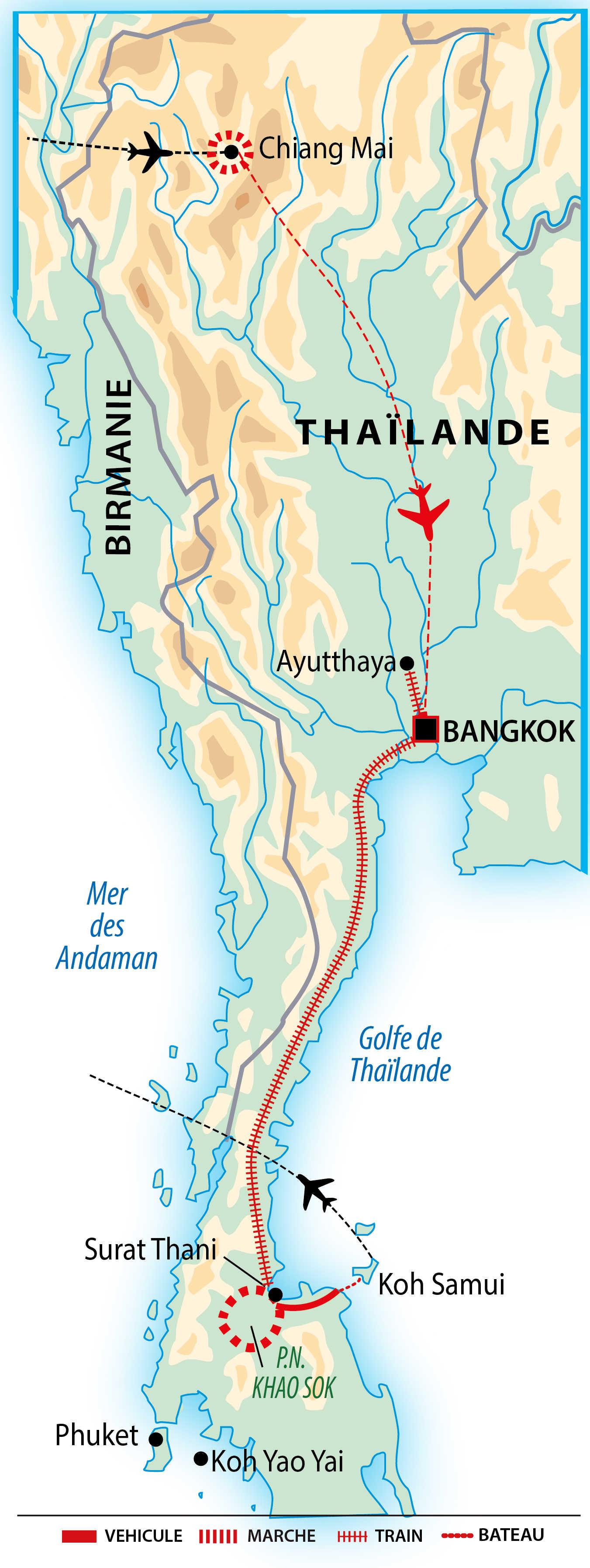 Carte de la traversée de la Thaïlande