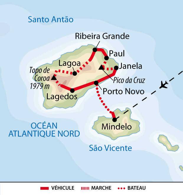 Carte de la traversée de Santo Antao