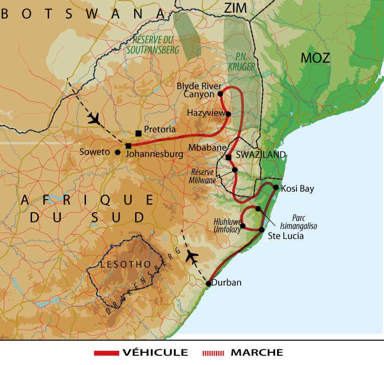 Carte de l'Afrique du Sud