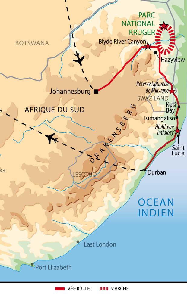 Carte de l'Afrique du Sud et du Swaziland