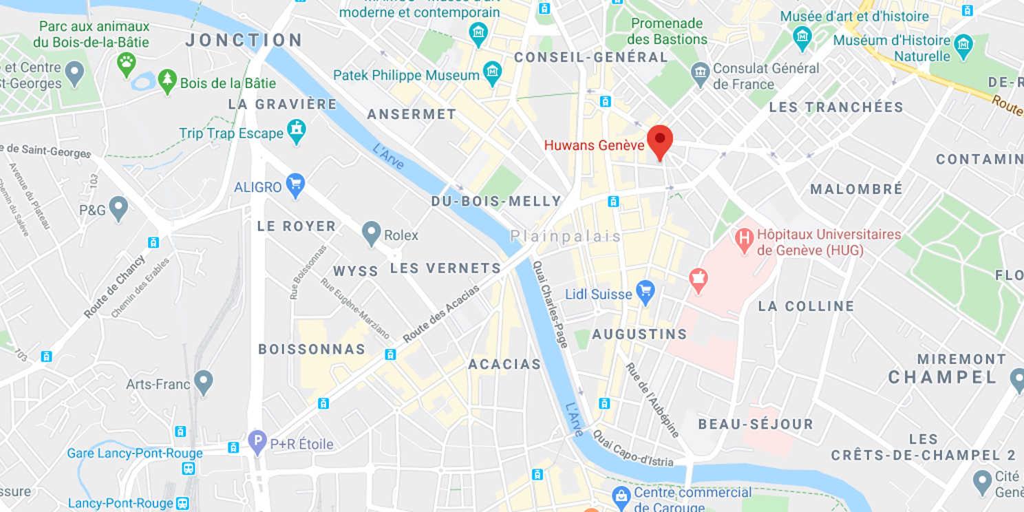 Carte de l'agence Huwans à Genève