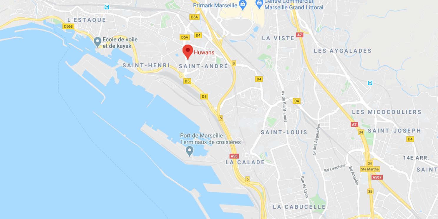 Carte de l'agence Huwans à Marseille