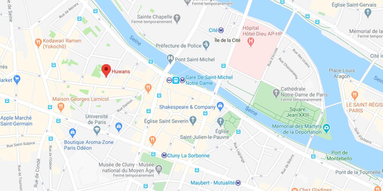 Carte de l'agence Huwans à Paris