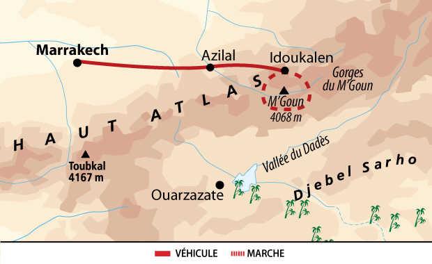 Carte de l'ascension du M'Goun