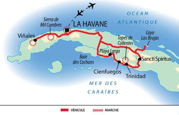 Carte de l'essentiel de Cuba en rando