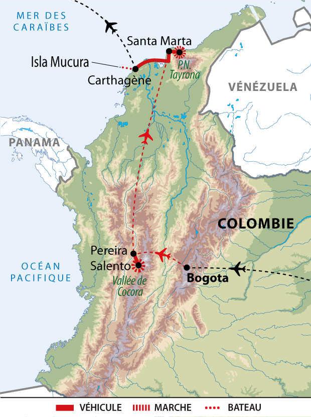 Carte de l'essentiel de la Colombie
