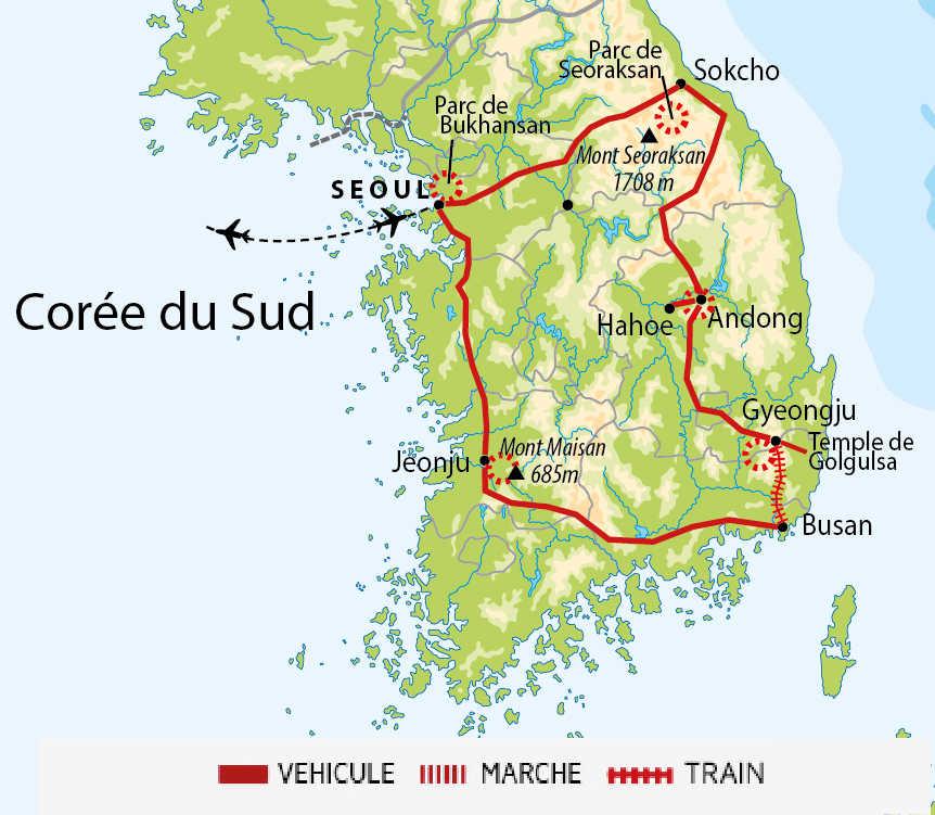 Carte de l'essentiel de la Corée du Sud