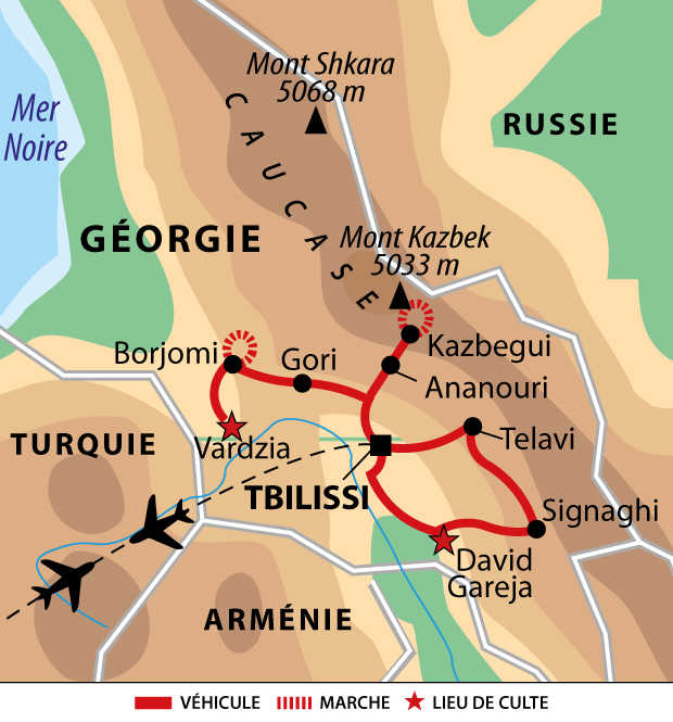 Carte de l'essentiel de la Géorgie